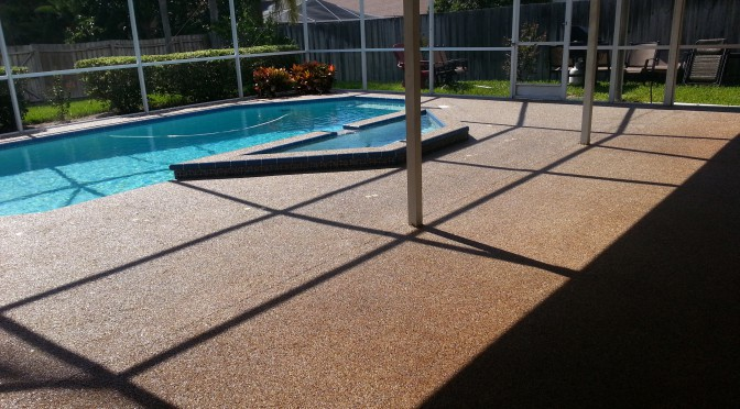 Freshly Sealed River Rock Pool Deck