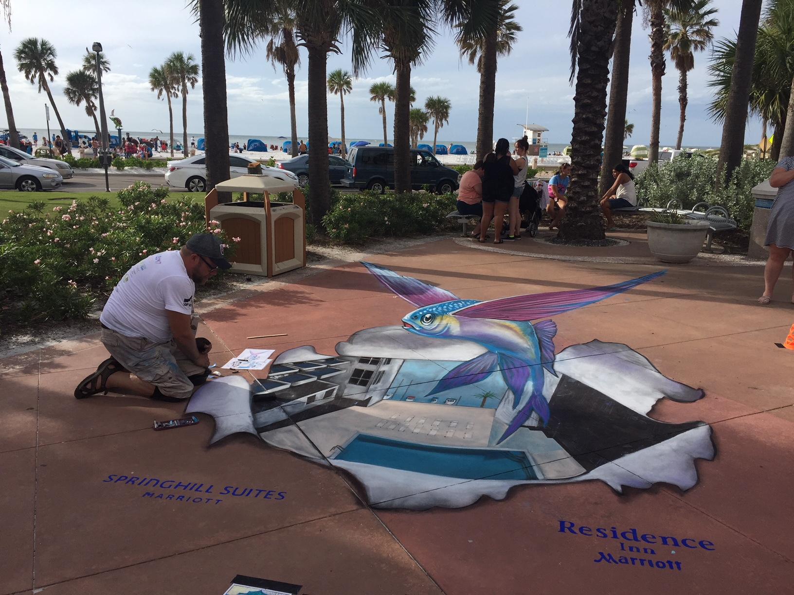 3D Sidewalk Art on Clearwater Beach